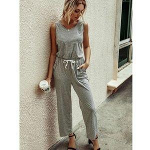Casual Drawstring Waist Grey Jumpsuit